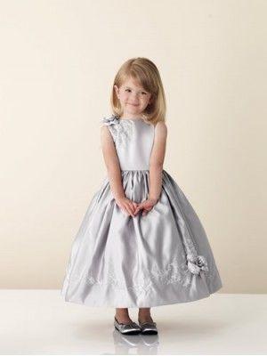 Vestidos de Niña de las Flores Jewel Jewel Raso Longgitud Debajo de la Orilla JC110300