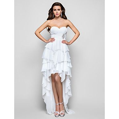 Free Measurements ! A-line Sweetheart Asymmetrical Chiffon Evening/Prom Dress – USD $ 125.99