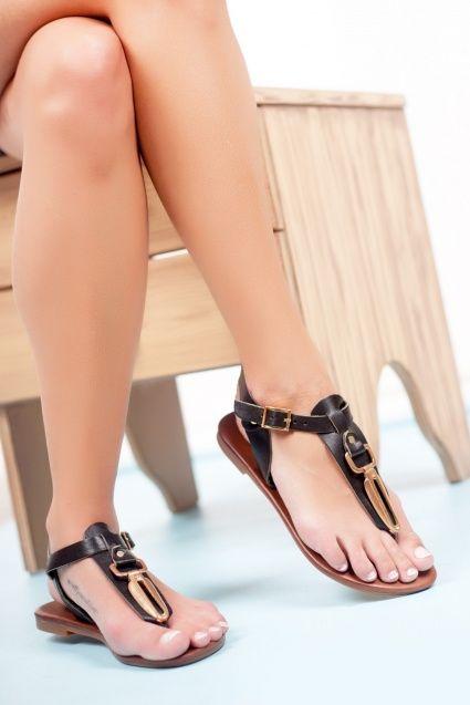 Kadın Hakiki Vaketa Deri Siyah Sandalet RMA-0078