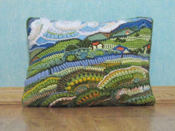 Crochet freeform ART painting pillowcase in a single copy Van Gogh The Landscape at Saint-Rémy ooak