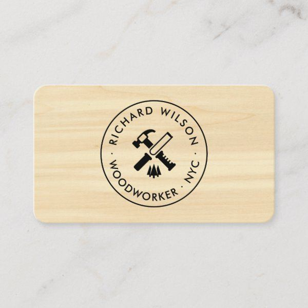 Modern Wood Grain Look Professional Carpenter Logo Business Card Zazzle Com Wood Business Cards Rustic Logo Professional Business Cards