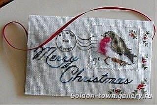 Cross-stitch Christmas Envelope, part 1...    Gallery.ru / Foto # 46 - Bullfinches robin pettirossi - Mosca