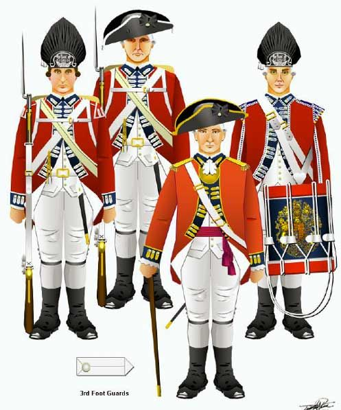 The British 3rd Foot Guards. John, 2nd Earl of Chatham was a lieutenant colonel in this regiment in 1783. Shiny gold braid :-D