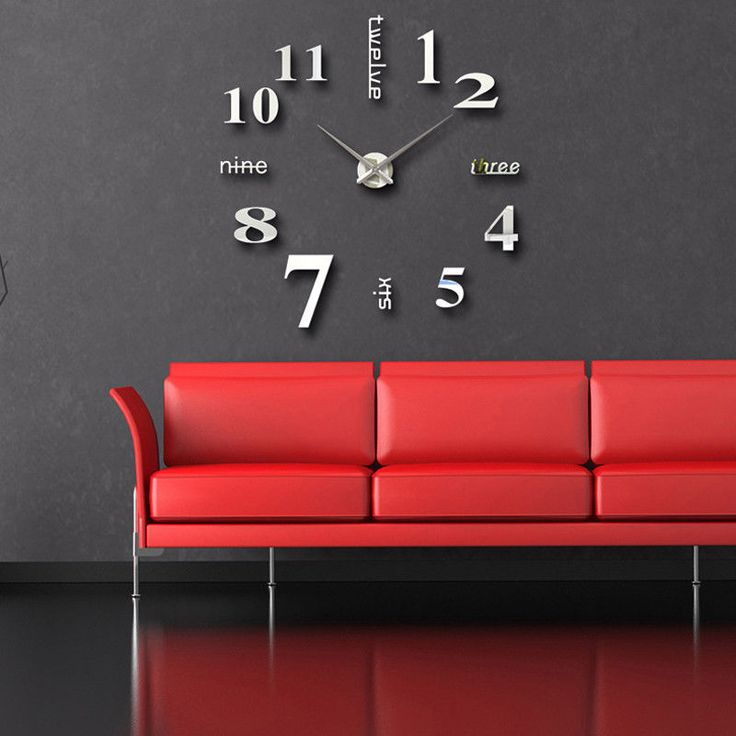 Large Diy Wall Creative English Number Novelty Clock Retro Home Bedroom Decor
