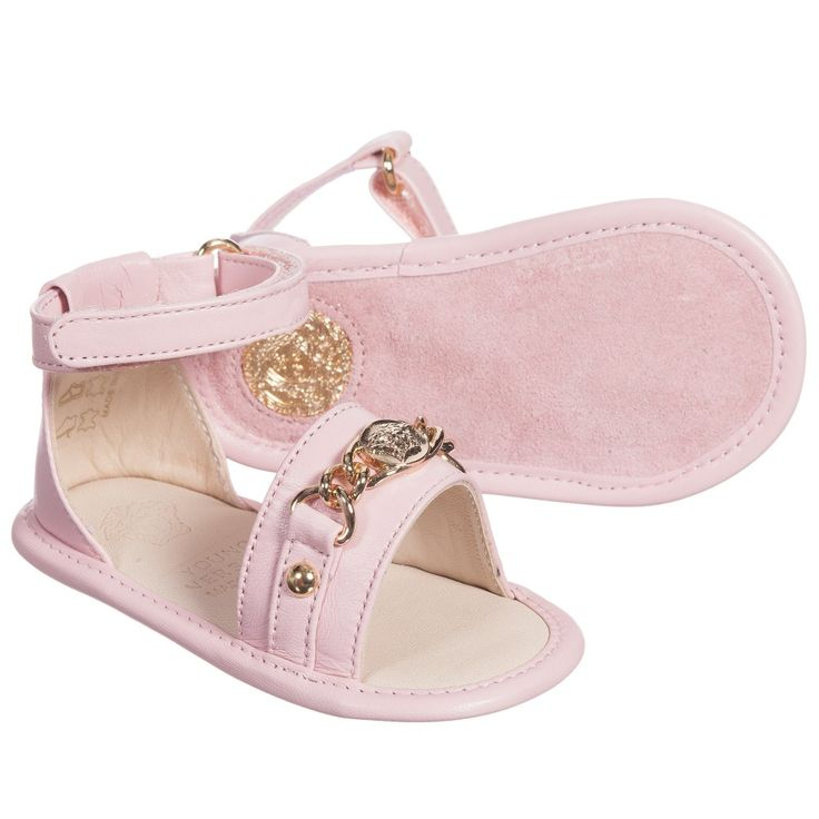 Baby girls pale pink sandals by Young Versace. Made with ...