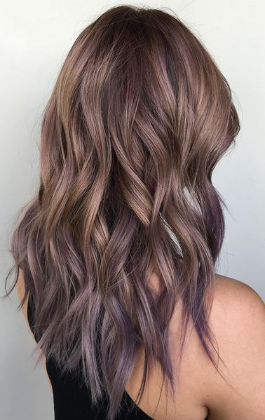 ash bronde and lilac tipped ombre hair color More