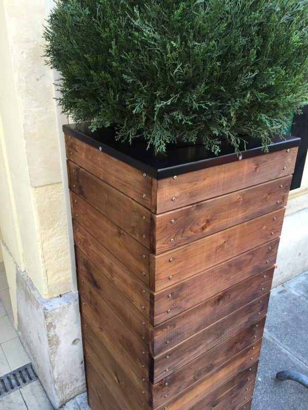 Gorgeous Tall Wooden Planter With Metal Screw Head Accents