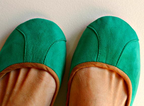 ISLANDER- Ballet Flats - Suede Shoes - 40- SEA GREEN. Available in different colours & sizes