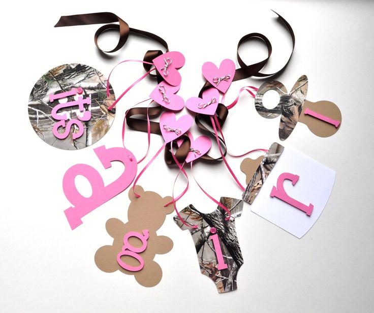 Realtree Camo baby shower decorations pink It's a by ParkersPrints, $16.50