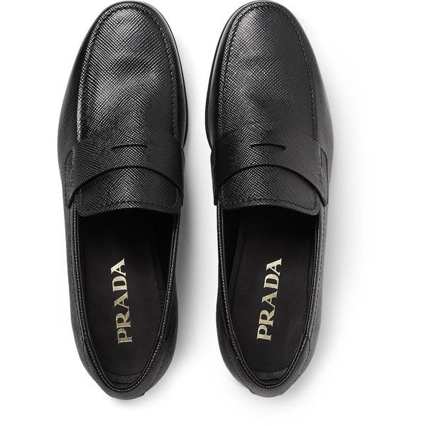 Prada Saffiano Leather Penny Loafers ❤ liked on Polyvore featuring men's fashion, men's shoes, men's loafers, mens black shoes, mens penny loafer shoes and prada mens shoes