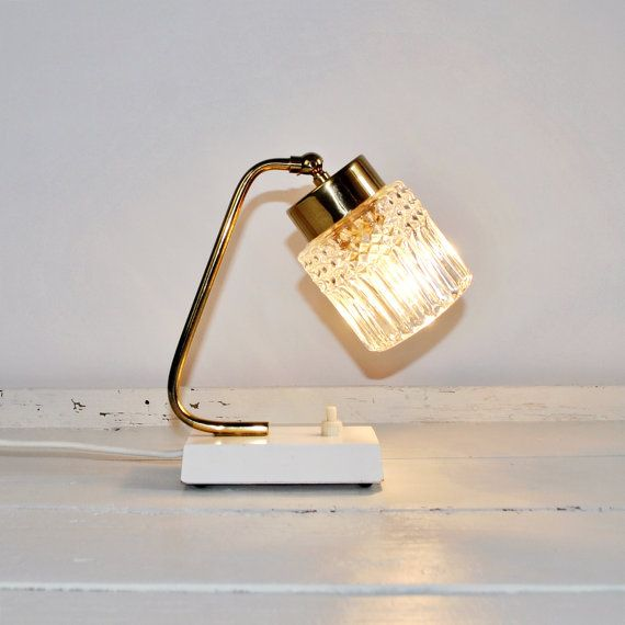 Mid Century Modern | Mad Men Style 60's Small Bedside Table Lamp | Transparent Ice Glass Shade