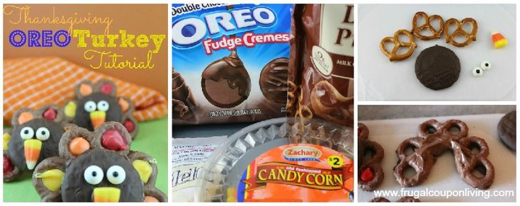 Frugal Coupon Living Chocolate OREO Turkey Recipe - Do it Yourself Fall Thanksgiving Craft with OREOs, Pretzels, Candy Corn and more. Great for Pinterest.