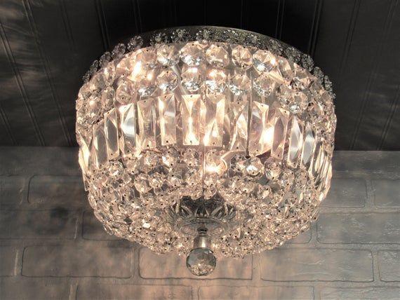 Large Vintage Crystal Flush Mount Ceiling Light Fixture Hollywood Glam Chandelier 14 Diameter In 2020 Flush Mount Ceiling Light Fixtures Ceiling Lights Flush Mount Ceiling Lights
