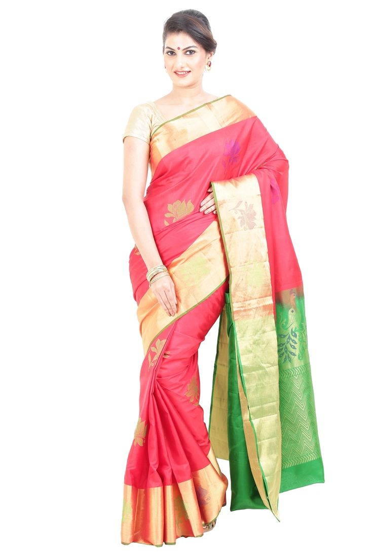 Make your style speak in the crowd, elegantly with opting the classy option of Fiery Red & Green Uppada Silk Shari Designed with Flowery Motives