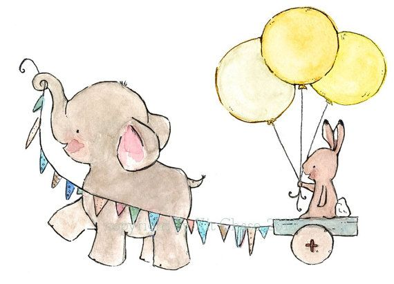 baby elephant and bunny decor--- JOYRIDE sunishine-- 8x10 Archival Art Print $10