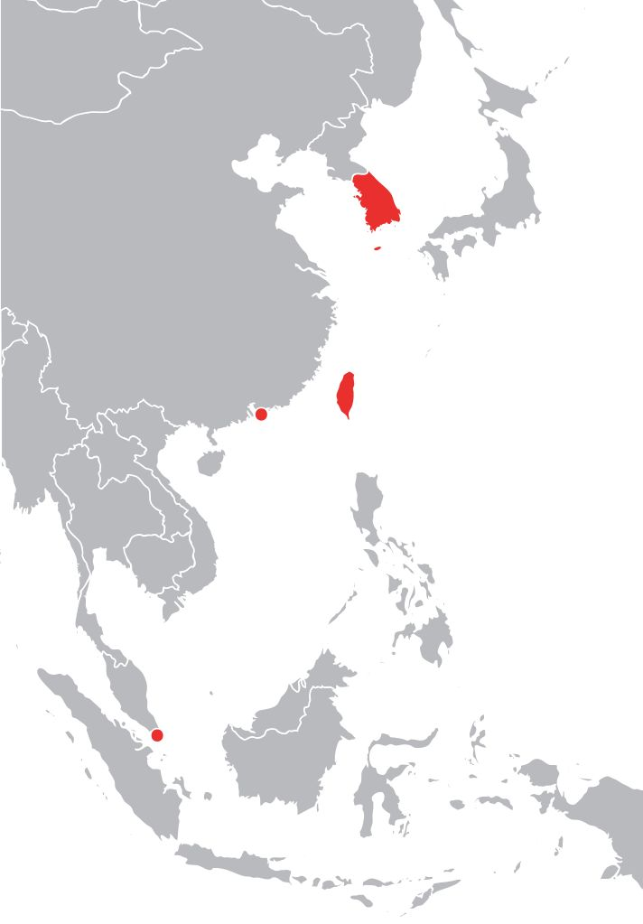 The Four Asian Tigers; Hong Kong, Singapore, Taiwan, and South Korea