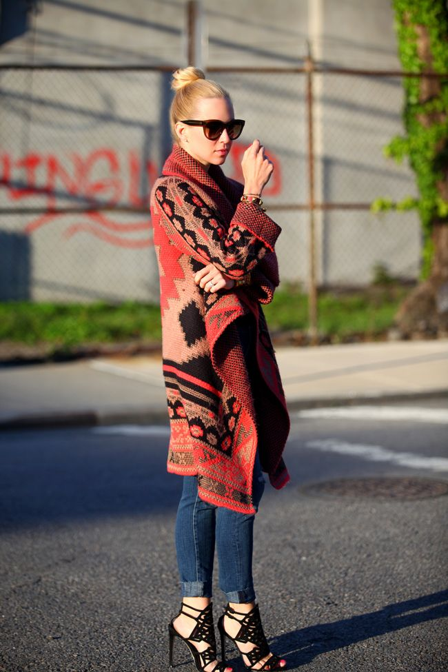Love the tribal print sweater.