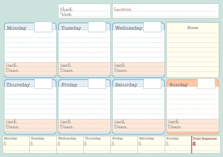 printable Simple Weekly Planner | printable student planner calendars ...