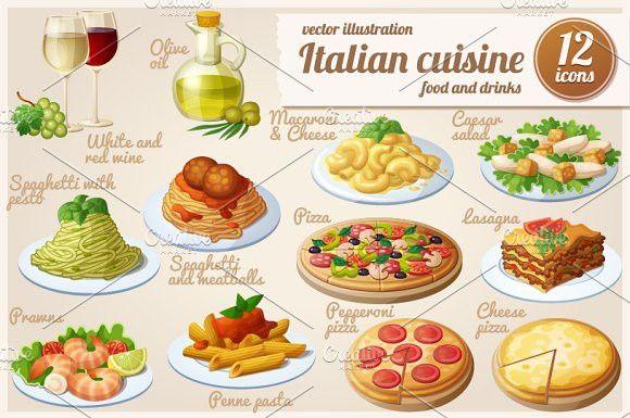 Italian Food Cartoon Vector Icons Italian Recipes Italian Food Photography Italian Recipes Authentic
