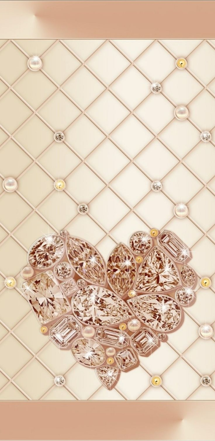Rose Gold Diamonds Hearts and Pearls Wallpaper