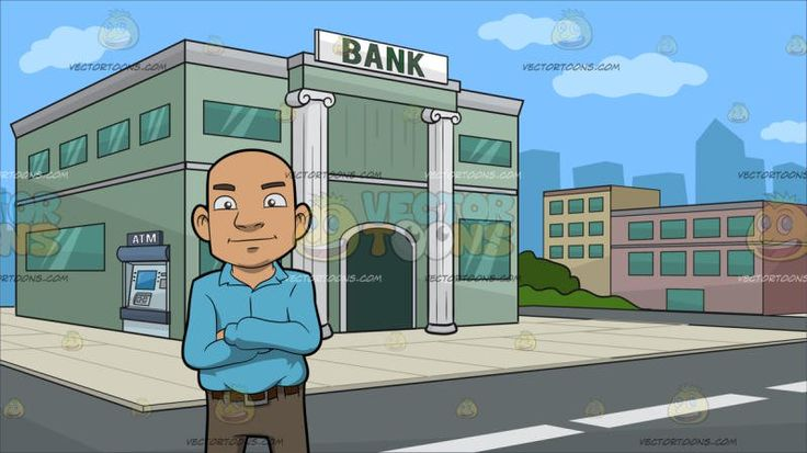 A Bald Guy Standing With His Arms Crossed Over His Chest At Outside A Bank :  A bald man wearing a light blue collared long sleeved shirt brown belt light brown pants and dark gray shoes smirks while crossing his arms on top of his chest. Set in a bank building with green walls corinthian style column with a bank label written in bold green lettering green glass windows and an atm machine on the side a cream colored tile flooring around the building gray road and several low rise buildings…