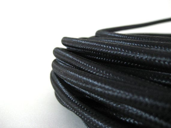 Black Fabric Cloth Covered Wire Electrical Cord by by warnaacorner