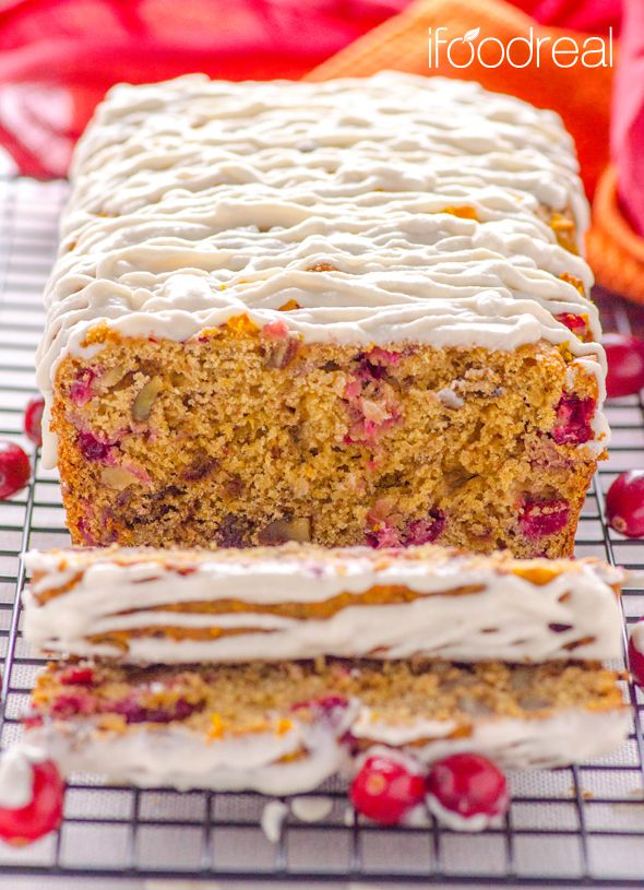 Healthy Glazed Cranberry Orange Bread - sweetened only with dates, whole wheat bread with cranberries, orange juice/zest and walnuts.