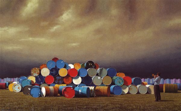 The Oil Drums - Jeffrey Smart  Oil on canvas 75 x 120 cm 1992 Private collection