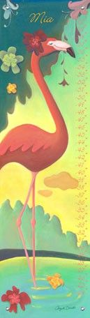 """Flamingo"" Personalized Growth Chart by Angela Donato for Oopsy Daisy $49"