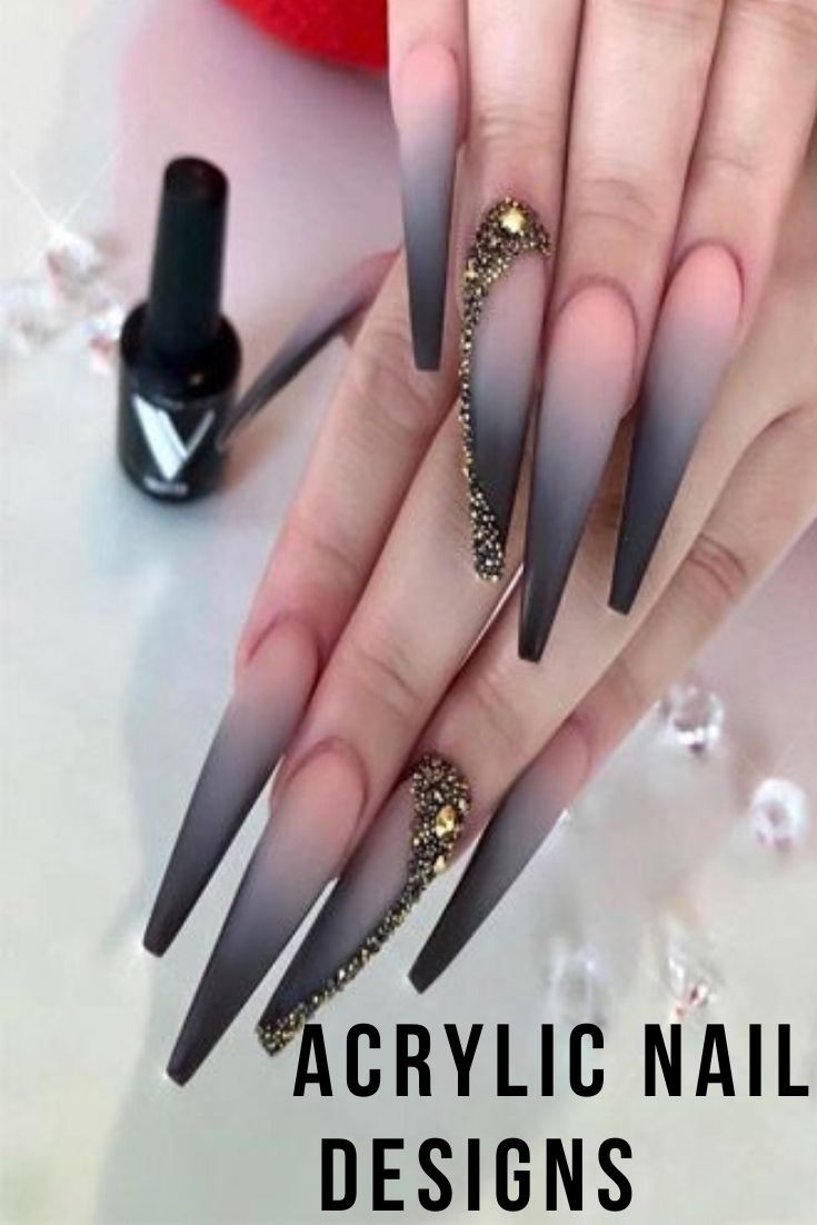 10 Acrylic Nail Designs For You To Impress Everyone Stiletto Nails Designs Black Ombre Nails Casual Nails