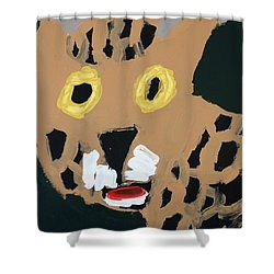 Patrick Francis - Shower Curtain featuring the painting Jaguar 2014 by Patrick Francis