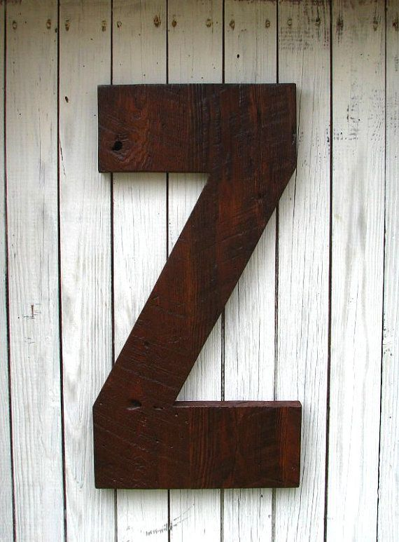big wooden letter made from reclaimed barn by secondnaturewoodwork