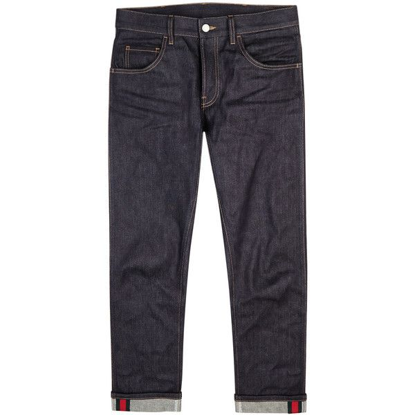 Gucci Navy Cropped Slim-leg Jeans - Size W34 ($635) ❤ liked on Polyvore featuring men's fashion, men's clothing, men's jeans, mens mid rise jeans, mens striped jeans, mens cuffed jeans, gucci mens jeans and old navy mens jeans