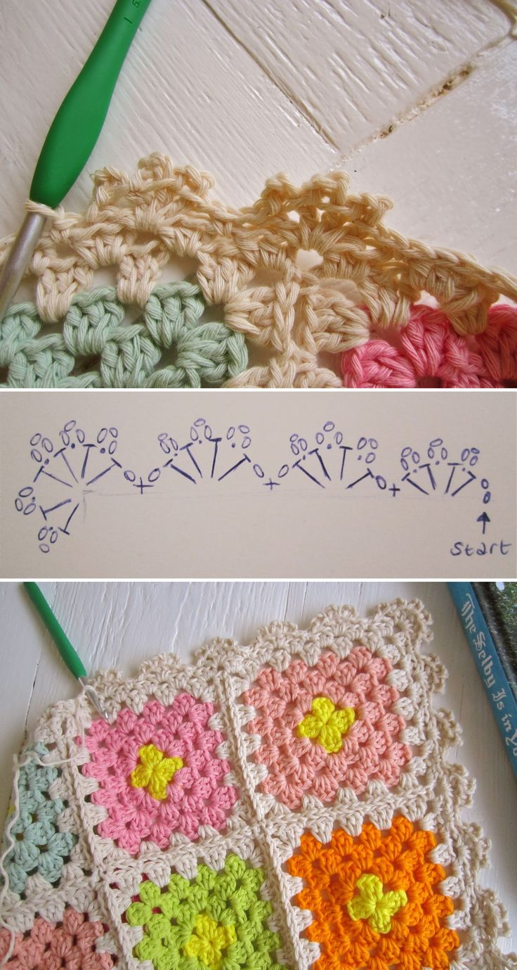 Simple scallop & picot edging, free pattern from Color 'n Cream  . . . .   ღTrish W ~ http://www.pinterest.com/trishw/  . . . .   #crochet