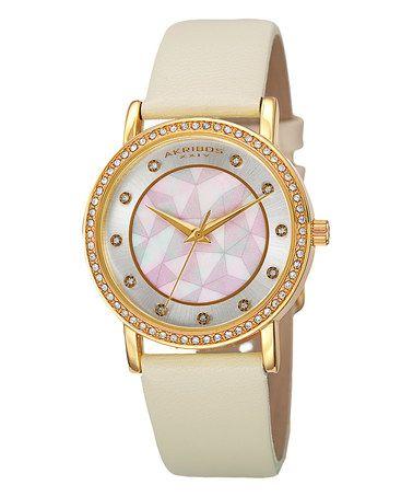 Look at this #zulilyfind! Gold & Mother-of-Pearl Geo Leather-Strap Watch #zulilyfinds