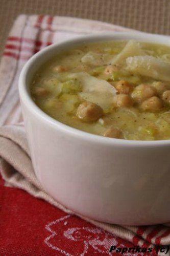 Recette de Soupe poireaux et pois chiches