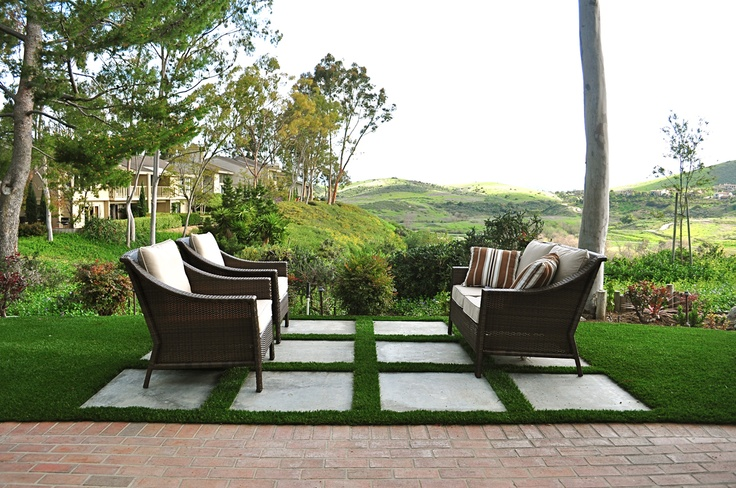 Smart Lawn With Artificial Grass And Stone Step Pads. Outdoor Garden Space. Landscape ...
