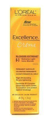 L'Oreal Excellence Creme Extreme # B3 Ivory Blonde (3-Pack) with Free Nail File. Range of high-lift blondes which lighten 4 levels and tone at the same time. Luminous light blonding. No pre-lightening required. Can be used for highlighting or full head application.use with OREOR Cream Developers. Luminous light blonding.