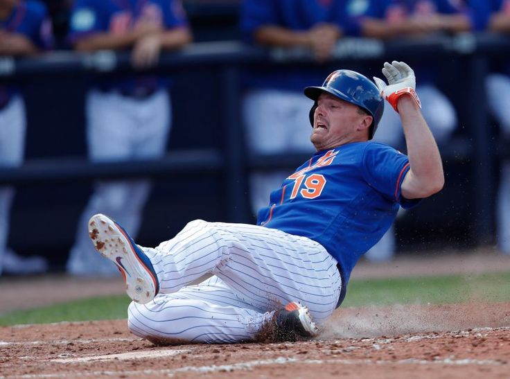 New York Mets' Jay Bruce  scores on a Lucas Duda double in the third inning of a spring training baseball game against the Houston Astros, Friday, March 3, 2017, in Port St. Lucie, Fla.