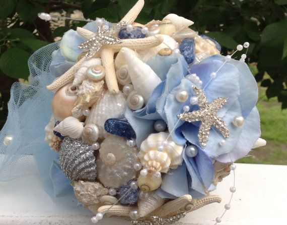 Blue Wedding Bouquet Seashell Shell By BeachBasketBride 9500