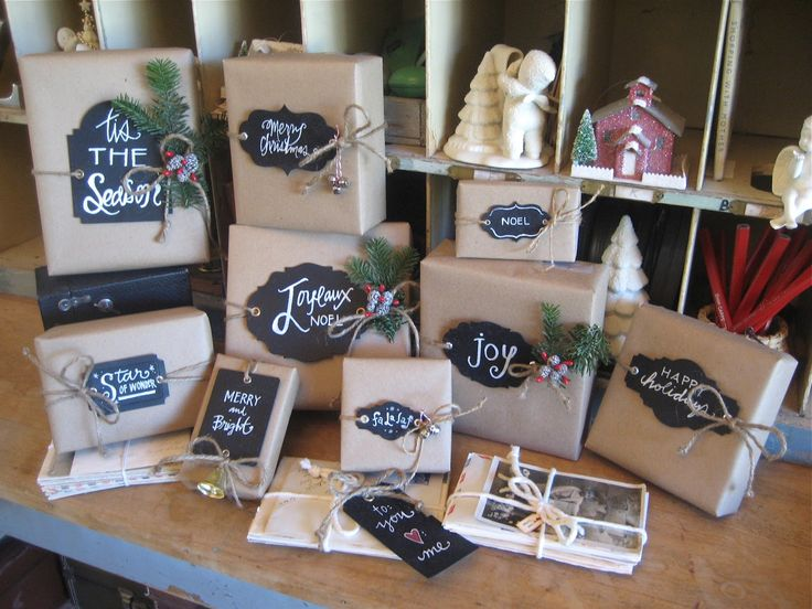 chalkboard ideas for wrapping gifts Love this!! cute with the craft paper!