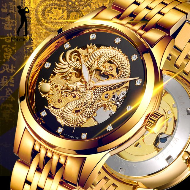 Flash Deals $29.99, Buy Dragon Skeleton Automatic Mechanical Watches For Men Wrist Watch Stainless Steel Strap Gold Clock 50m Waterproof Mens Hodinky
