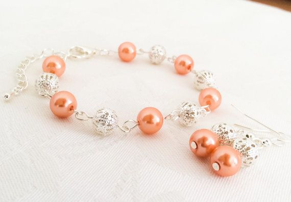 Coral Bracelet & Earrings Set Coral Jewelry Bridesmaid Jewelry Coral Pearl Bracelet Wedding