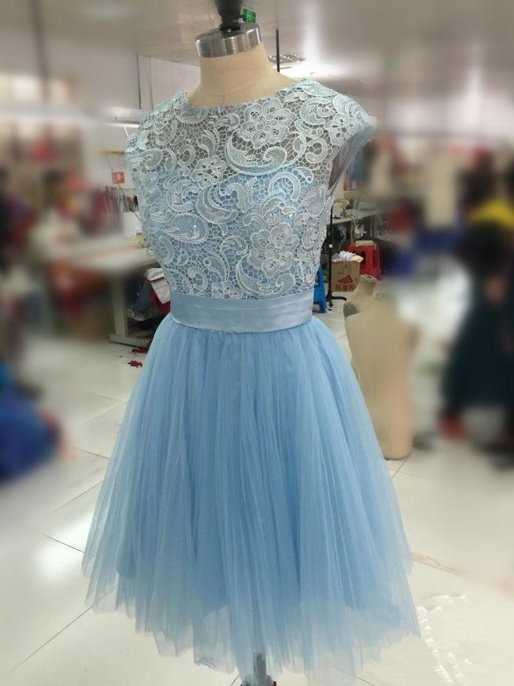 Light Blue Lace Prom Dress, #lightbluedress, #shortpromdresses