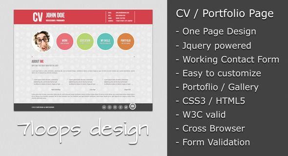 Symplicity Cv Portfolio Page Columns2 7loops Contact Form Curriculum Vitae Cv Html Resum Cv Resume Template Website Template Resume Templates