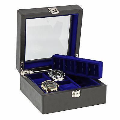 Black Genuine Leather 4 Watch + 8 Cufflink Collectors Box Blue Lining  Aevitas *    * About Us  * Payment  * Delivery  * Returns  * Contact Us  Show Menu * Watch Boxes  * Watch Winders  * Jewellery Boxes  * Stackers  * Gifts For Him  * Gifts For Her  * Other Items   *   *   *   *   *    *   *   *   *   *   BLACK GENUINE LEATHER 4 WATCH + 8 CUFFLINK COLLECTORS BOX BLUE LINING AEVITAS Product Details:  Superior Quality luxury Genuine Black Leather Watch Box with Purple Velvet Lining is just…