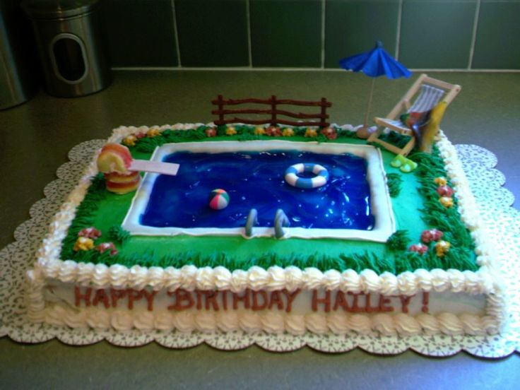 34 Best Swimming Pool Cake Images On Pinterest Swimming Pools Pool Party Cakes And Pools