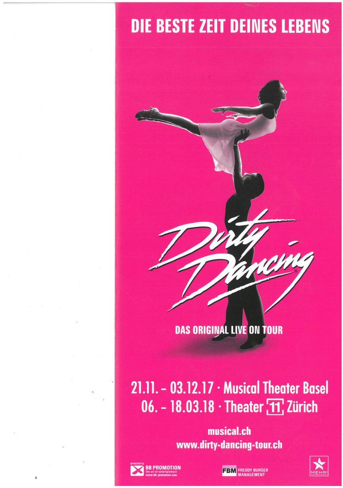 DIRTY DANCING - THEATER 11 ZÜRICH - ORIGINAL MUSICAL FLYER 2017/18 | eBay