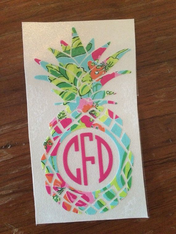 Lilly Pulitzer inspired pineapple monogram decal yeti by SLrustic
