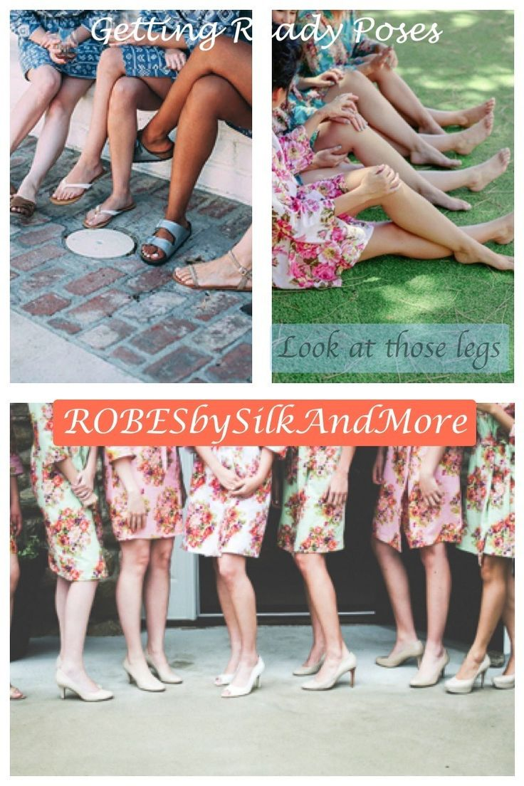 Look at those legs - Bridesmaids Getting Ready Poses Robes by silkandmore - Mismatched Colorful Floral Posy Bridesmaids Robes, $25 (http://robesbysilkandmore.com/mismatched-colorful-floral-posy-bridesmaids-robes/)